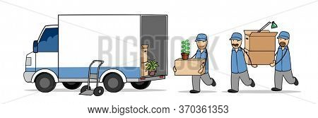 Furniture packers from the moving company carry moving boxes into trucks when moving