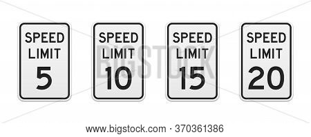 Speed Limit Traffic Signs From 5 To 20 Miles Per Hour. Set Of Vector Graphic Elements For Production