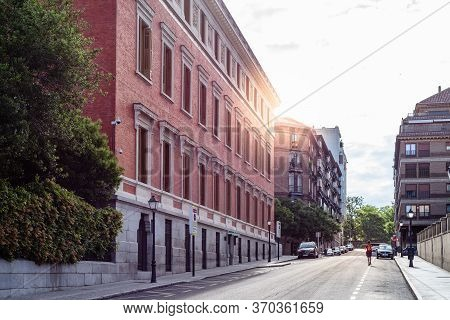 Madrid, Spain - June 7, 2020: Exterior View Of Royal Spanish Academy, An Official Royal Institution