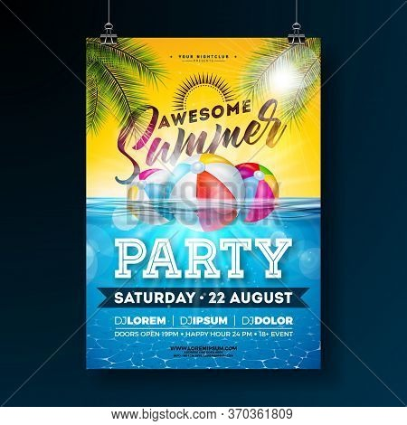 Summer Pool Party Poster Design Template With Palm Leaves, Water And Beach Ball On Blue Underwater O