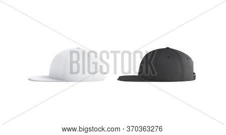 Blank Black And White Jeans Snapback Mockup Set, Side View, 3d Rendering. Empty Sport Accessory Head