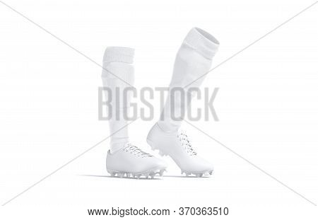 Blank White Soccer Boots With Socks Toe Mockup, Isolated, 3d Rendering. Empty Sport Uniform With Gai