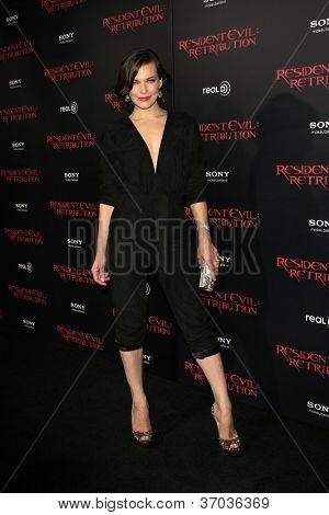 """LOS ANGELES - SEP 12:  Milla Jovovich arrives at the """"Resident Evil: Retribution"""" Premiere at Regal Cinemas L.A. Live on September 12, 2012 in Los Angeles, CA"""