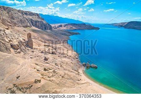 Metajna, Island Of Pag. Famous Beritnica Beach In Stone Desert Amazing Scenery, Dalmatia Region Of C