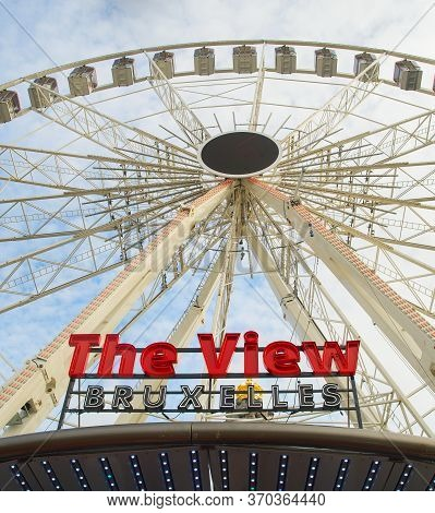 Brussels, Belgium - October 05, 2019: Brussels Eye Is The Famous Ferries Wheel With Overlooking Of T