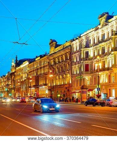 Night Cityscape With Traffic On Illuminated Nevsky Prospect, Saint Petersburg, Russia