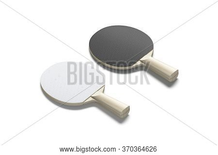 Blank Black And White Wood Table Tennis Racket Mockup, Isolated, 3d Rendering. Empty Wood Ping-pong