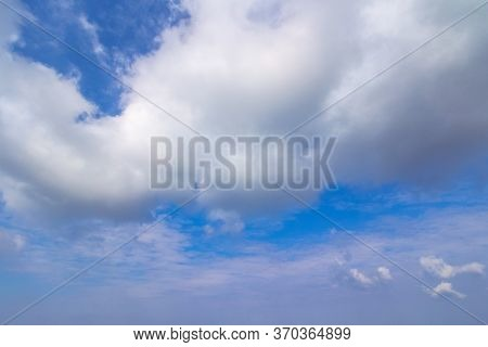 Beautiful Cloudscape On A Summer Day. Wonderful Sunny Weather Forecast. Dynamic Cloud Formation On T