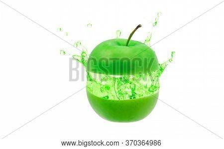 Green Apple Juice Splashing On White Background