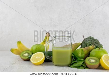 Healthy Green Smoothie With Organic Ingredients. Healthy Dieting And Nutrition, Lifestyle, Vegan, Al