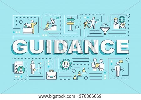 Guidance Word Concepts Banner. Professional Trainer. Job Expertise. Support In Career. Infographics