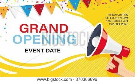 Grand Opening Banner Template. Advertising Design For Social Network Illustration. Template For Reta
