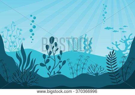 Marine Life. Beautiful Marine Ecosystem And Wildlife On Bottom In Blue Ocean. Underwater Sea Fauna W