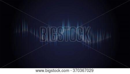 Sound Wave. Dynamic Vibration Wallpaper. Abstract Sound Wave Element On Blue Background. Music Visua