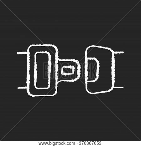 Seat Belt Chalk White Icon On Black Background. Safe Driving Rule, Security Measure, Safety Precauti