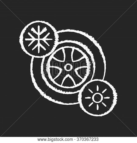 Seasonal Tyres Chalk White Icon On Black Background. Safety Driving Rule, Automobile Maintenance. Ch