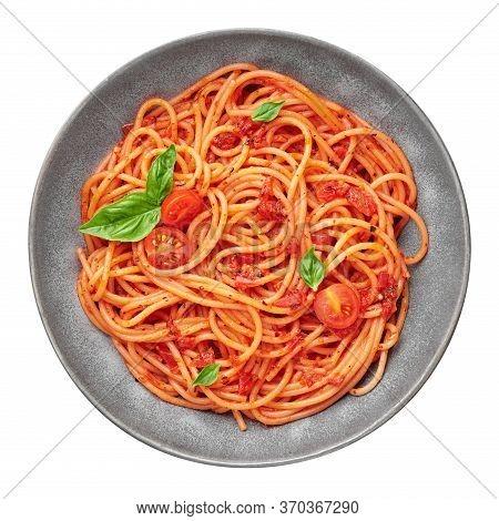 Tomato Spaghetti In Gray Bowl Isolated On White Background. Tomato Sauce Pasta Is Classic Italian Cu