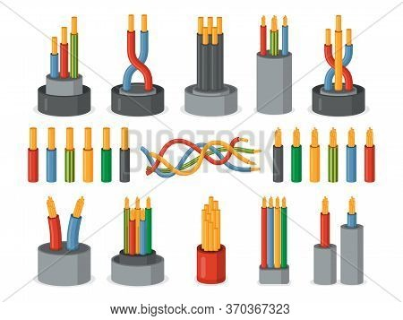 Electric Wires. Single Core And Multicore Industrial Isolated Cables Set. Multicolored Power Cables