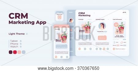 Crm Marketing App Screen Vector Adaptive Design Template. Account Promotion Application Day Mode Int