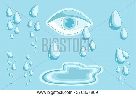 Eye With Teardrops. Cry Symbol Of Psychology Problems, Pain And Sadness Illustration Isolated On Blu