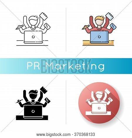 Multitasking Icon. Work Overload. Efficiency In Management. Productive Employee. Professional Entrep