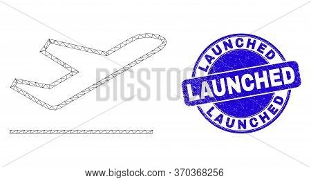 Web Mesh Airplane Takeoff Pictogram And Launched Watermark. Blue Vector Round Grunge Stamp With Laun