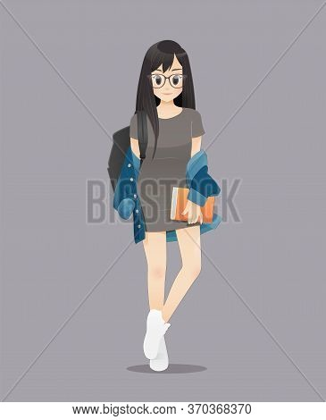 Back To School, The Illustration Of Female College Students Smiling, Teenagers Holding Book, Go To S