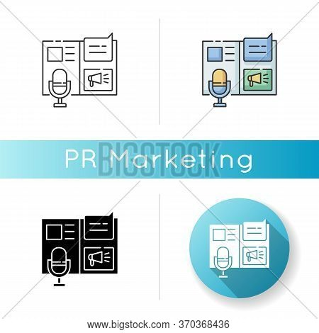 Press Release Icon. Promotion Through Announcement. Public Relation. Journalism In Social Media. Mar