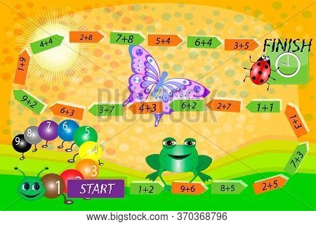 Mathematical Game. Math For Children. A Game For Children On The Speed. Math Board Games For Childre
