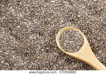 Organic Chia In Seeds. View From Above - Salvia Hispanica