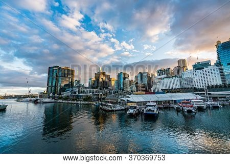 Sydney Downtown Skyline At Darling Harbor Bay, Business And Recreational Arcade, In Sydney, Nsw, Aus
