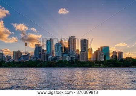 Beautiful Sydney Downtown Skyline During Sunset, Nsw, Australia.