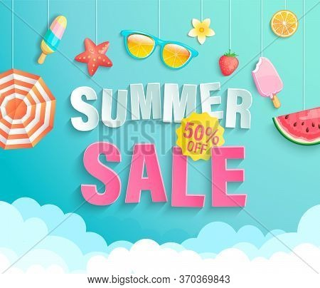 Summers 2020 Sale Banner With Season Elements.invitation Poster With Watermelon, Ice Cream, Strawber