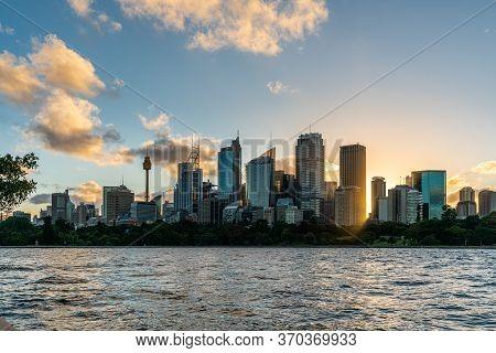 Beautiful Sydney Downtown Skyline During Sunset, Nsw, Australia.