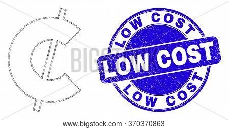 Web Mesh Cent Pictogram And Low Cost Watermark. Blue Vector Rounded Textured Watermark With Low Cost