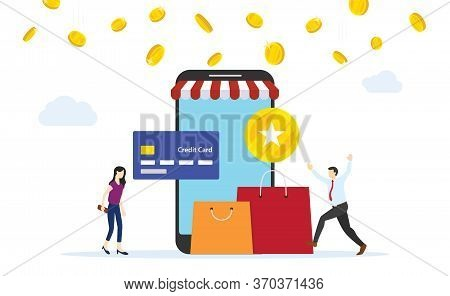 People Getting Earning Point From Online Shopping Payment With Credit Card Flat Style Cartoon Design