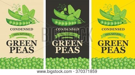 Labels For Green Peas In Retro Style. A Set Of Vector Labels Or Banners For Green Peas Featuring Rea