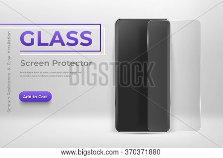 Smartphone Mockup With Glass Screen Protector. 3d Mobile Phone And Screen Protector Film Modern Cell