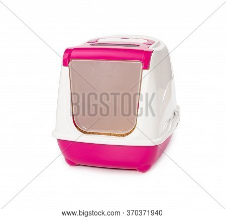 Enclosed Litter Box With Wood Filler Isolated On White Background.
