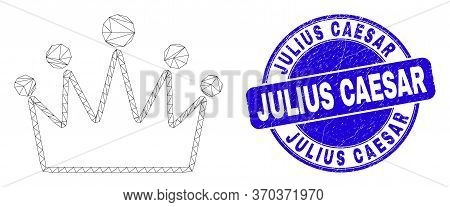 Web Mesh Crown Icon And Julius Caesar Seal Stamp. Blue Vector Rounded Distress Watermark With Julius