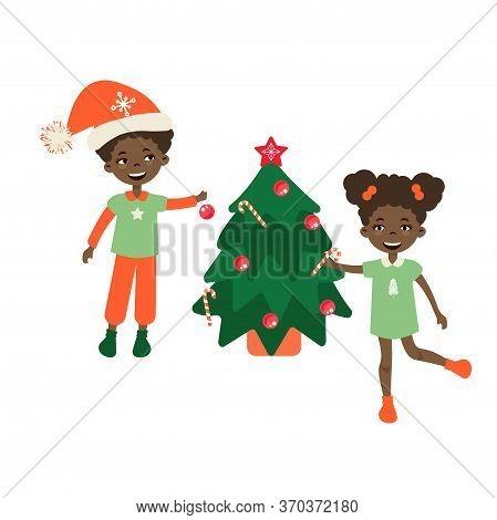 Kids Decorating A Christmas Tree Vector Illustration. Xmas Child Fun.