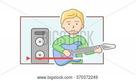 Concept Of Music Concert Or Lesson. Boy Plays Electric Guitar. Character Playing The Guitar. Musicia