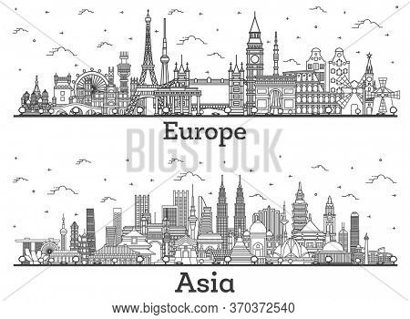 Outline Famous Landmarks in Asia and Europe. Business Travel and Tourism Concept. Image for Presentation, Banner, Placard and Web Site. London. Paris. Berlin. Moscow.