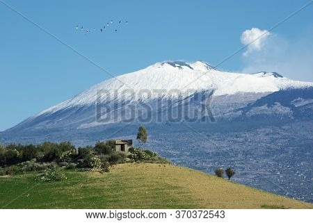 Etna volcano of Sicily natural landmark Unesco, house on hill, in the sky flight of birds and puff of white smoke