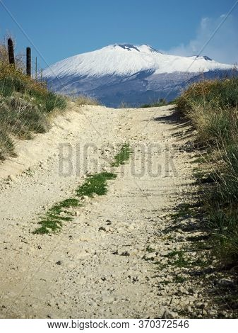 Etna Volcano and dirt road in Sicily travel to see natural landmark Unesco