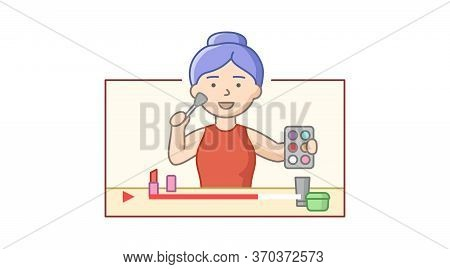 Concept Of Recording Video Blog. Woman Reviewing Cosmetics. Content For Personal Blog, Website. Girl