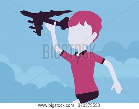Boy Playing With A Toy Airplane. Young Pilot Flying An Aircraft, Child Running Holding Aero Plane In