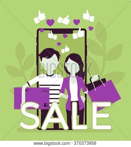 Mobile Sale, E-commerce Smartphone Application. Young People, Happy Consumers Using Phones To Shop,