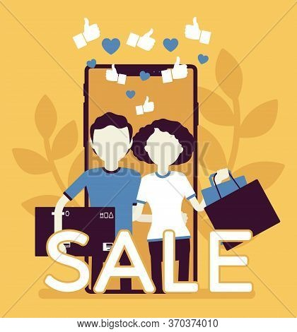 Mobile Sale, E-commerce Smartphone Application. Couple, People, Happy Consumers Using Phones To Shop