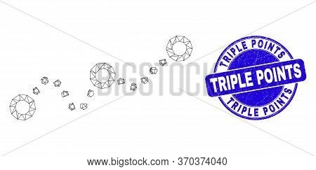 Web Carcass Dotted Chart Pictogram And Triple Points Seal Stamp. Blue Vector Rounded Distress Stamp